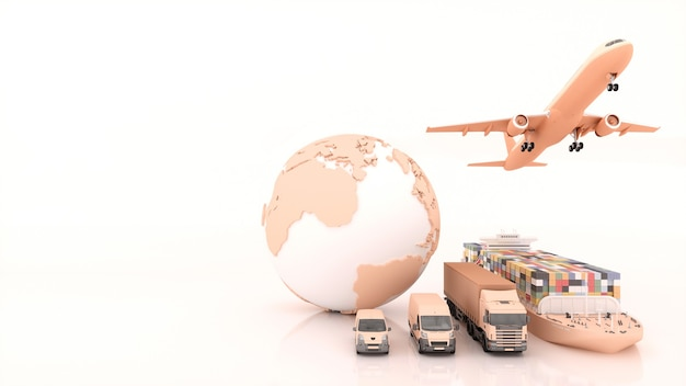 International shipping and delivery of goods, 3d illustration
