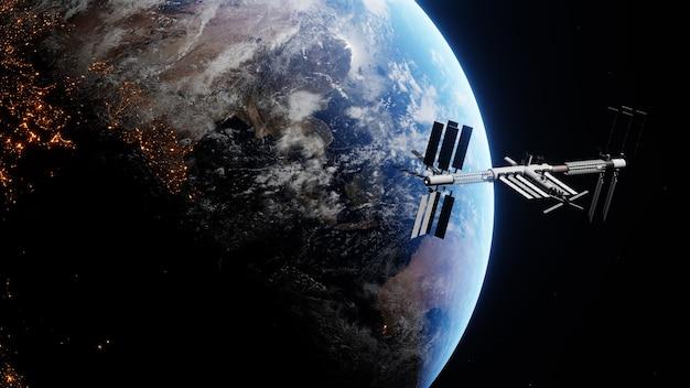 행성의 빛 위로 비행하는 국제 우주 정거장