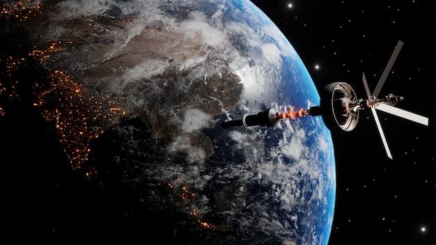 宇宙空間で地球上の軌道に浮かぶ国際宇宙ステーション