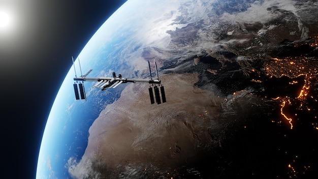 International space station orbiting the earth during sun drifts