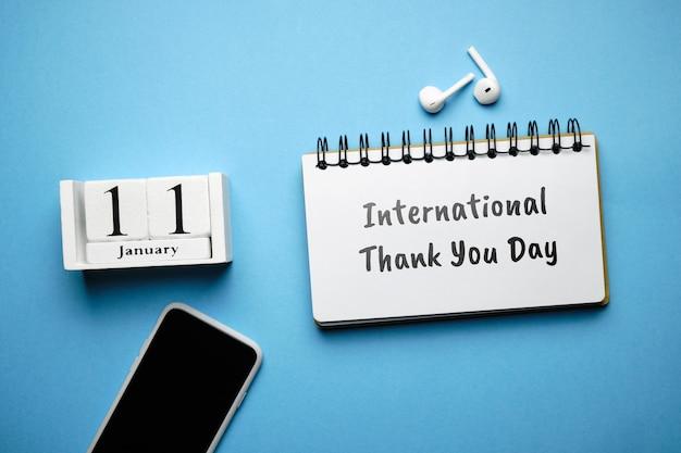 International thank you day of winter month calendar january.
