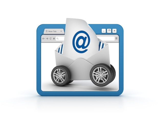 Internet browser with email envelope on wheels