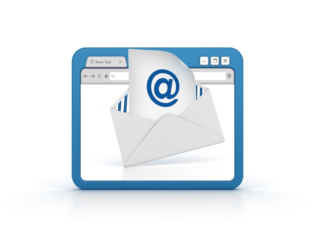 Internet browser with email envelope