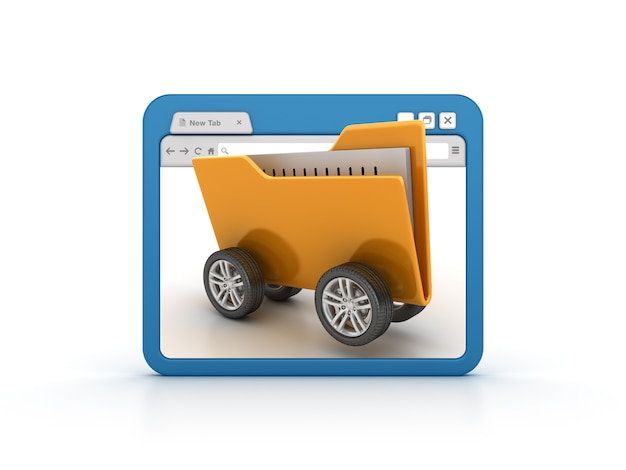 Internet browser with folder on wheels