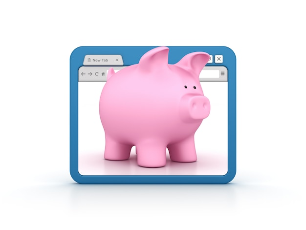 Internet browser with piggy bank