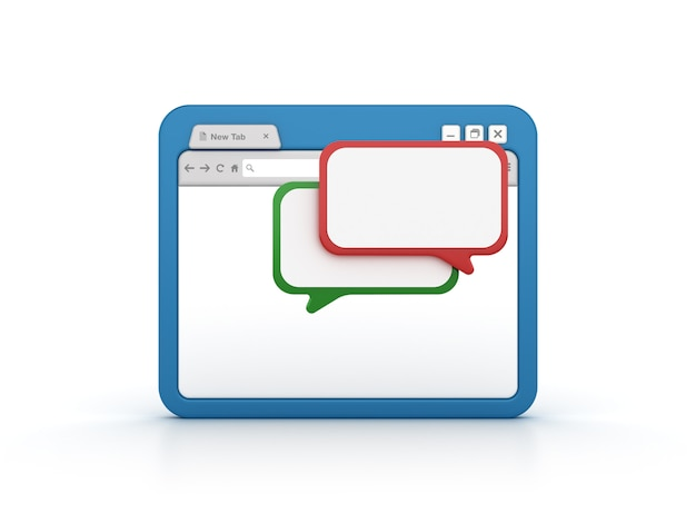 Internet browser with speech bubbles
