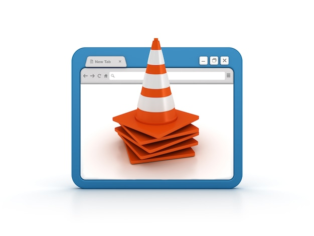 Internet browser with traffic cones