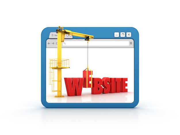 Internet browser with website word and crane