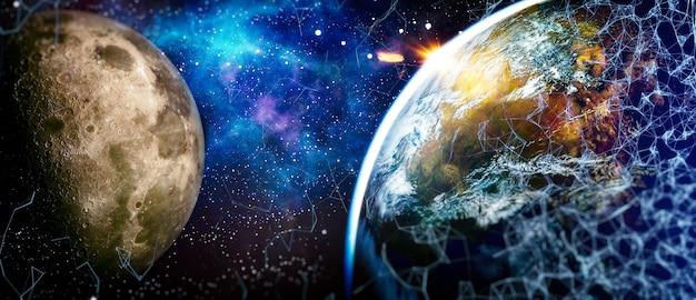 인터넷 비즈니스, 글로벌 세계 네트워크 및 지구 암호화폐 및 블록체인 및 iot에 대한 통신. nasa에서 제공한 이 이미지의 요소