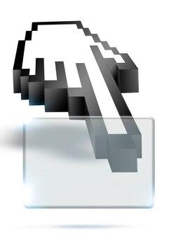 Интернет-концепция фон с курсором в виде руки и прозрачным окном