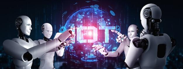 Aiロボットと機械学習プロセスによって制御されるインターネット接続により、データ接続とサイバーセキュリティを分析します