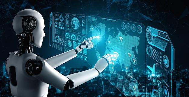 Подключение к интернету контролируется роботом ai и процессом машинного обучения