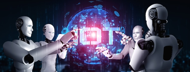 Internet connection controlled by ai robot and machine learning process