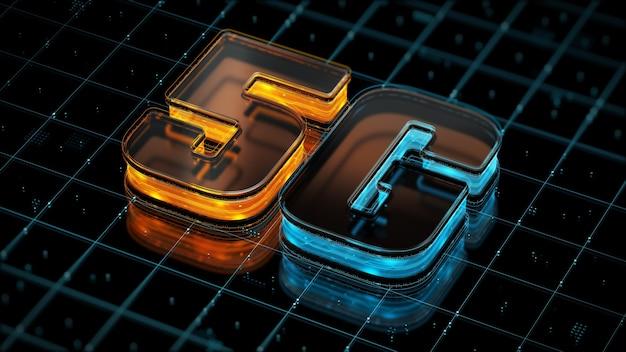 미래 5g 모바일 인터넷 트래픽 3d 렌더링의 인터넷 연결