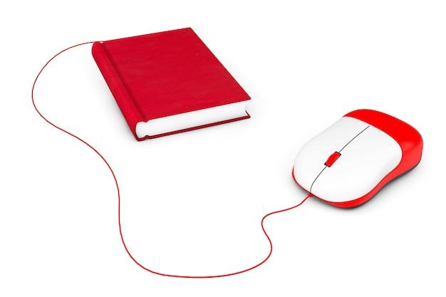 インターネット教育。白い背景の上の本とコンピュータのマウス