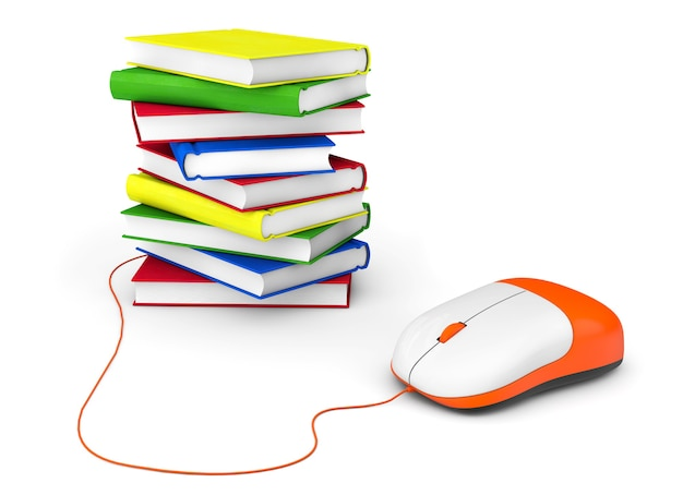 インターネット教育。白い背景の上の本とコンピューターのマウス