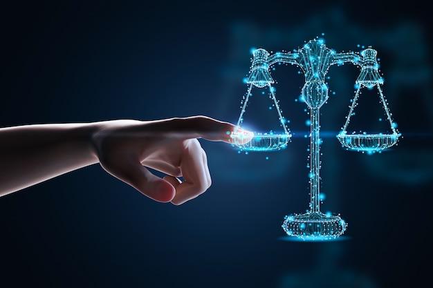 Концепция интернет-права с 3d-рендерингом человеческого пальца на цифровом дисплее в масштабе закона