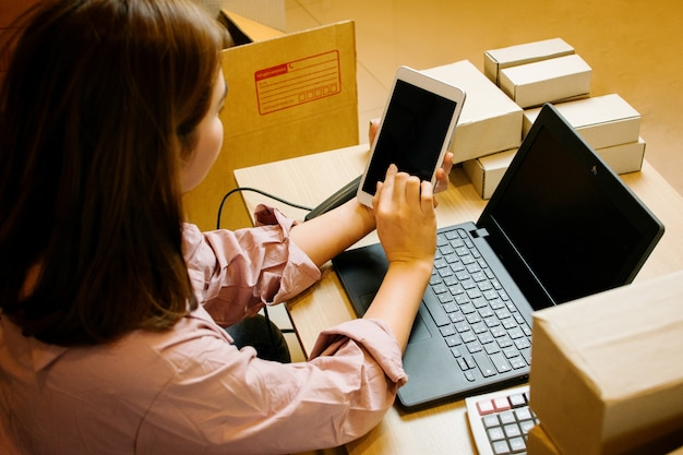 Internet online shopping,  young business start up online seller.