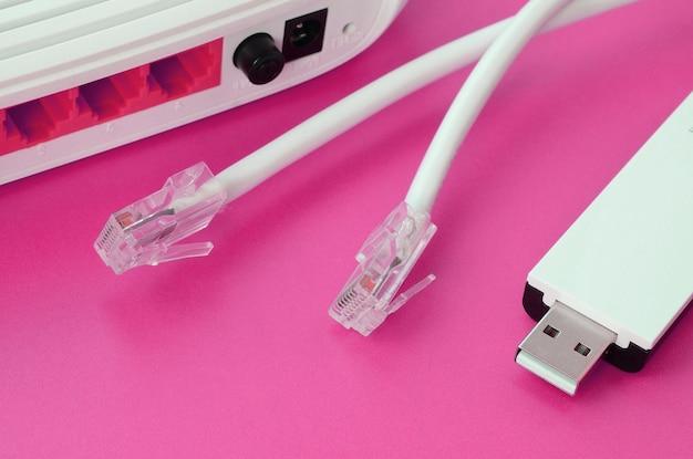 인터넷 라우터, 휴대용 usb wi-fi 어댑터 및 인터넷 케이블