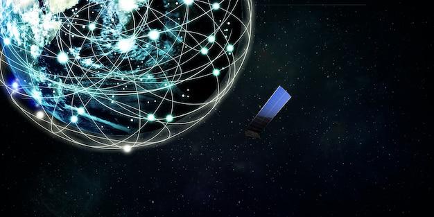 インターネット衛星は地球を周回します衛星技術通信の概念