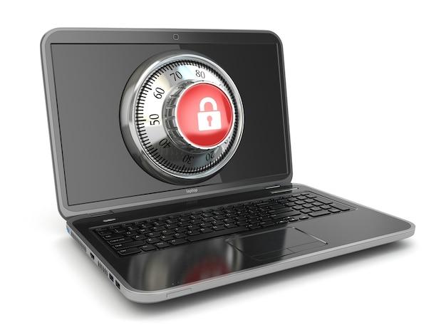 Интернет-безопасность. ноутбук и безопасный замок. 3d