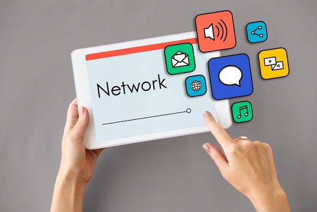 Internet social media network digital