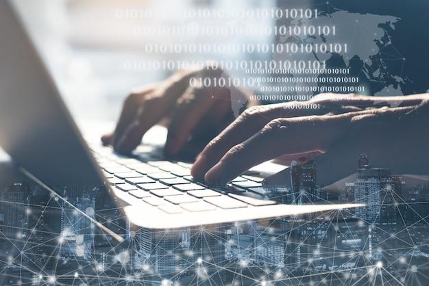 Internet technology and digital software development concept