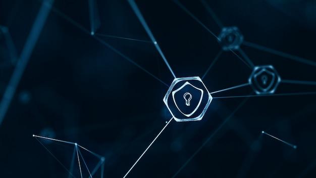 인터넷 기술 네트워크 및 사이버 보안 개념.