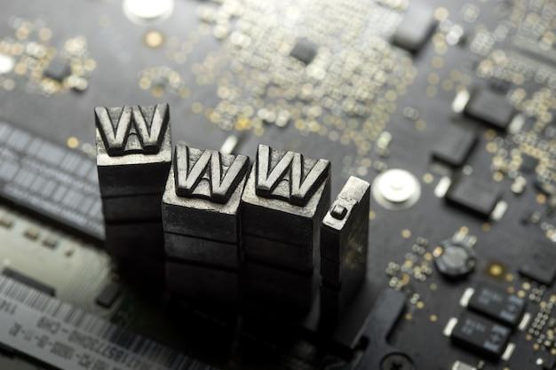 Internet website design and dotcom metal letterpress