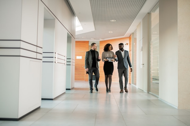 Interracial business colleagues walking along corridor and discussing project on move