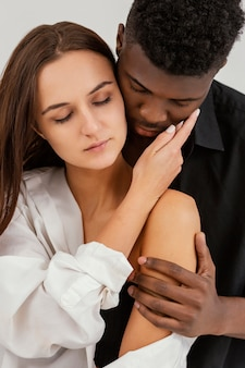 Interracial couple in love close-up