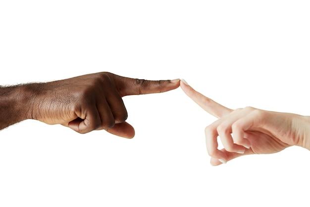 分離した人種の人間の手