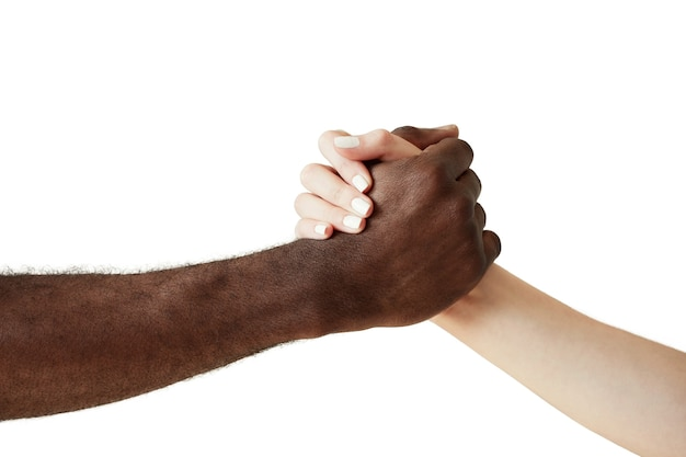 Interracial human hands isolated