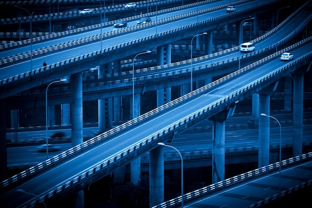 The intersecting multi-storey overpass in chongqing, china