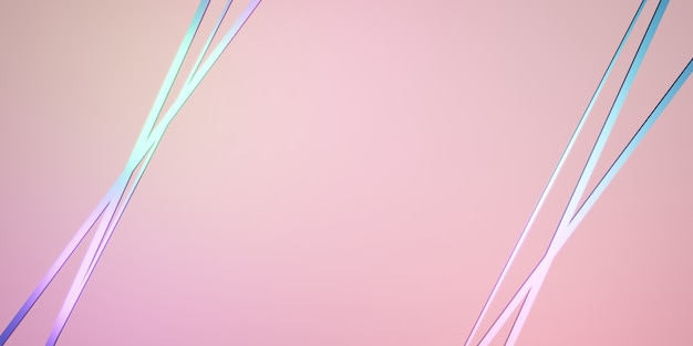 Intersecting straight lines background rainbow reflective neon pink backdrop 3d illustration