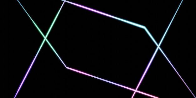 交差する直線の背景虹反射ネオンピンクの背景3dイラスト