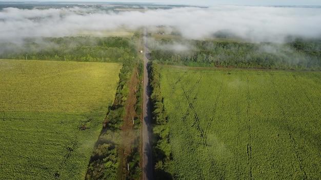 Пересечение автомобильной дороги и рельсов. вид с высоты на утренний осенний туман.