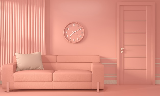 Гостиная коралловая комната intirior с диваном и декором цвета живого коралла в стиле
