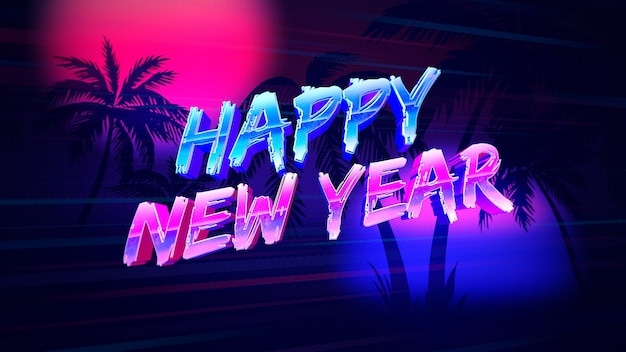 Intro text happy new year and sunset with palms, retro background