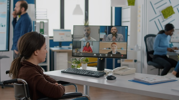 Invalid employee during virtual meeting talking on videocall