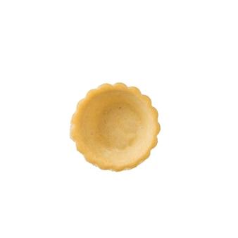 白い背景で隔離の反転した小さなタルト。おやつ用の焼き菓子。