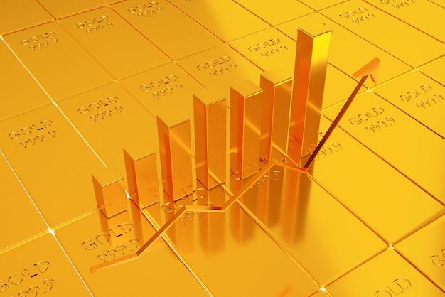 Инвестиции в золотые запасы, концепция торговли золотом, рендеринг 3d иллюстраций