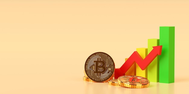 Инвестиционная концепция, графическая диаграмма тенденции роста криптовалюты биткойн биткойн на фондовом рынке, 3d иллюстрация