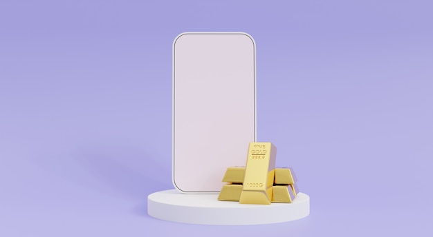 Investment concept, smartphone mockup with gold bars, 3d illustration