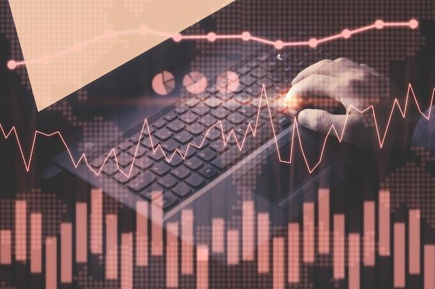 투자 그래프. 인터넷, 기술. 금융 개념