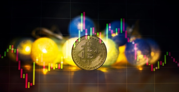 Investment platform with charts and bitcoin coin. bitcoin btc cryptocurrency coins. stock market concept.