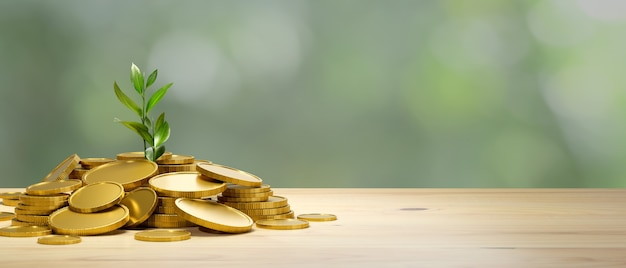 Investment and saving money concept a lot of gold coins with growing plant on wooden table with copy space in blurred background