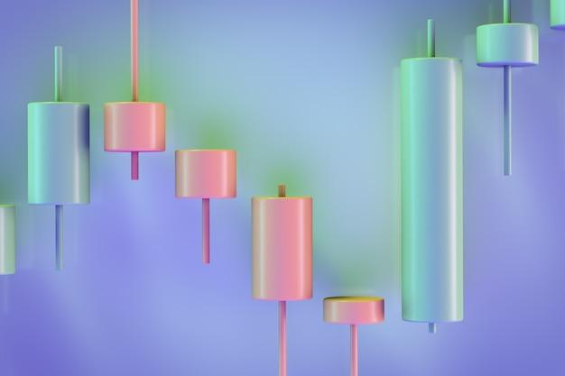 Иллюстрация инвестиционной темы. декоративный интервальный график цен. вид японских свечей