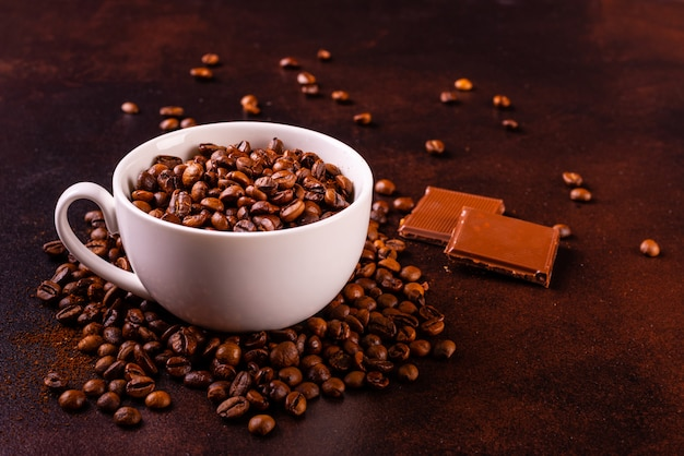 The invigorating morning coffee with sweets. it can be used as a background