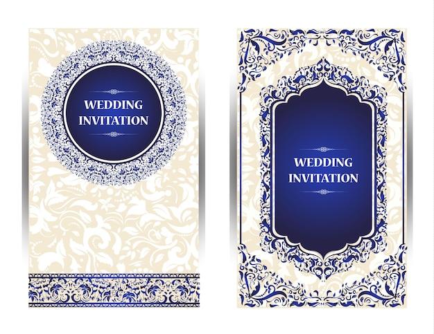 Invitation card vintage design with mandala pattern on purple